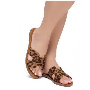 Shoes - Lightweight Flat Easy Slide-On Sandals (Leopard)
